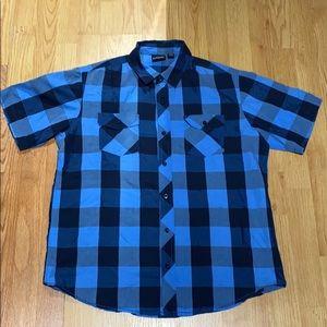 Burnside short sleeve plaid shirt blue